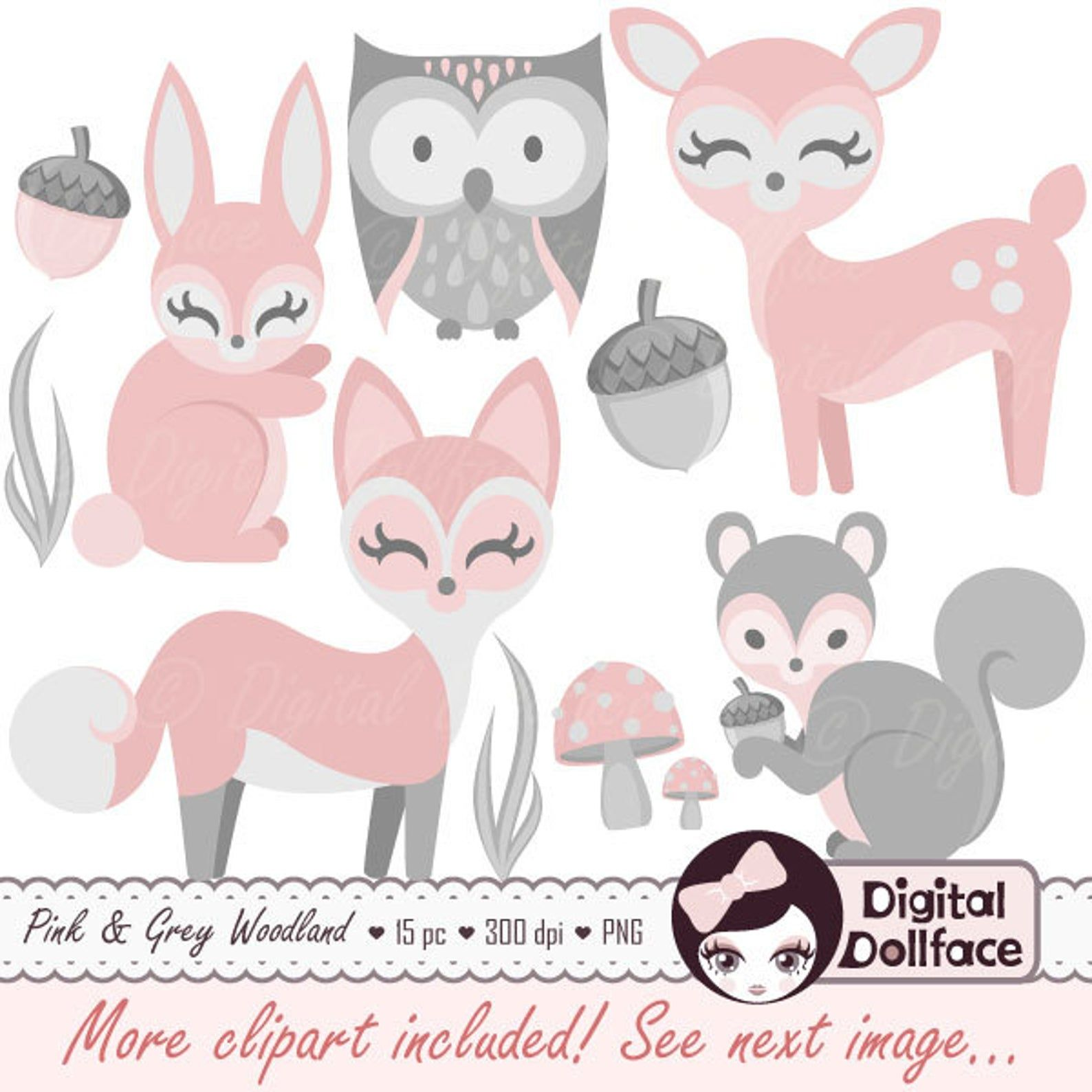 Baby Woodland Animal Clipart Girl Baby Clip Art Pink Bunny Etsy Baby Clip Art Bunny Images Forest Friends Baby Shower
