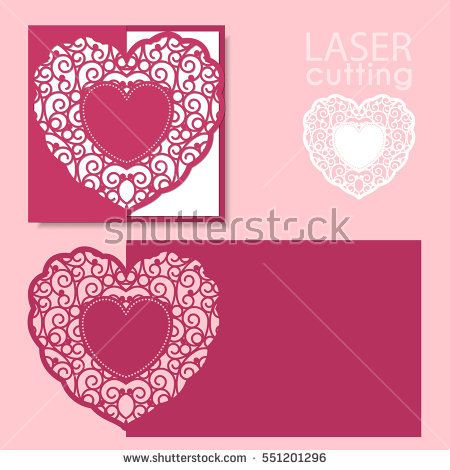 Laser cut wedding invitation or greeting card template vector with - greeting card template