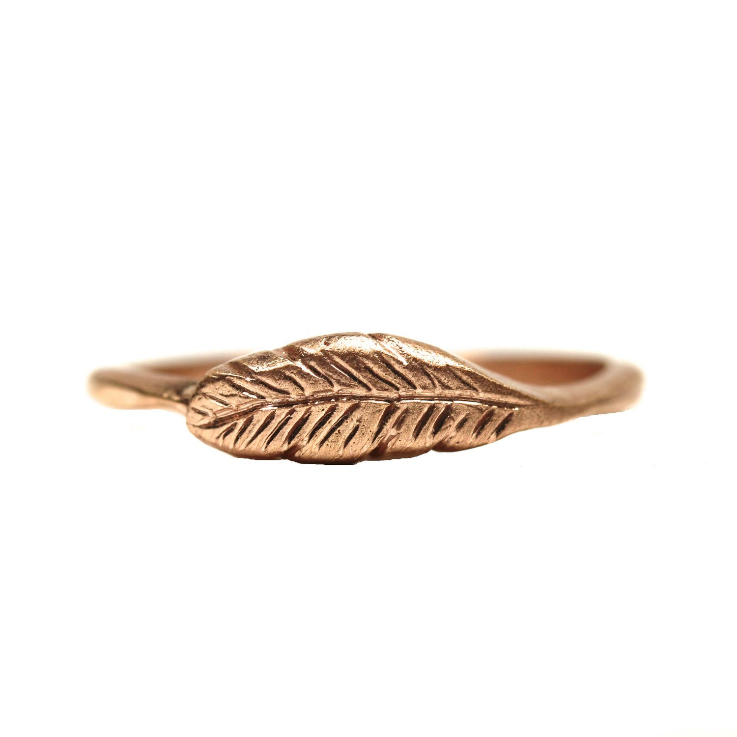 14K Rose Gold Woodland Feather Ring Bird Pink - Feather's Rose - 11 Main