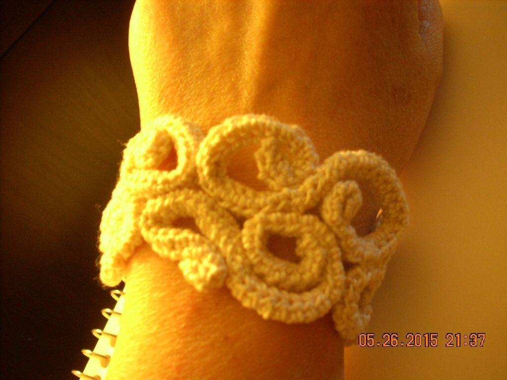 Hand crocheted cuff by louisebdesigns 2015 original design.