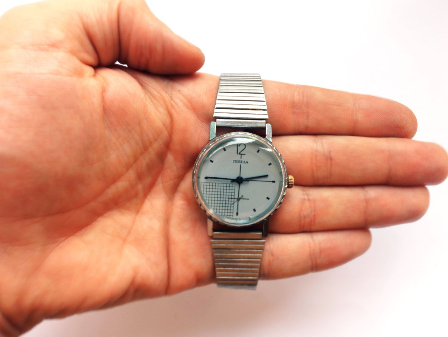 Rare Vintage Soviet Watch Mechanical Pobeda. This is beautiful unusual watch with awesome dial and original steel bracelet. Mens mechanical watch in