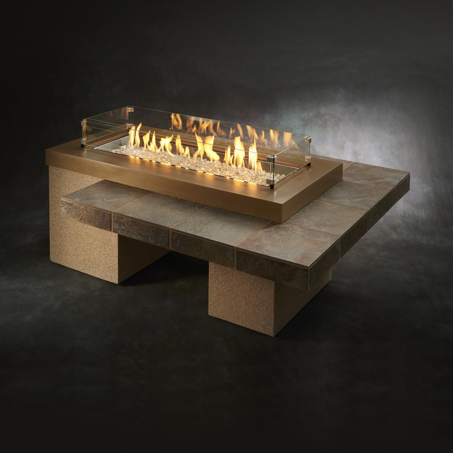 The Outdoor Greatroom Company Uptown 64 Inch Linear Propane Gas Fire Pit Table With 42 Inch Crystal Fire Burner Brown Upt 1242 Brn Propane Fire Pit Table Fire Pit Table Gas Fire Pit Table