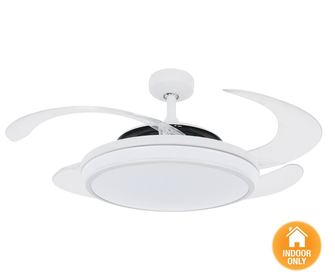 Fanaway evo1 prevail white ceiling fan with clear retractable fanaway evo1 prevail white ceiling fan with clear retractable blades and led light mozeypictures Gallery