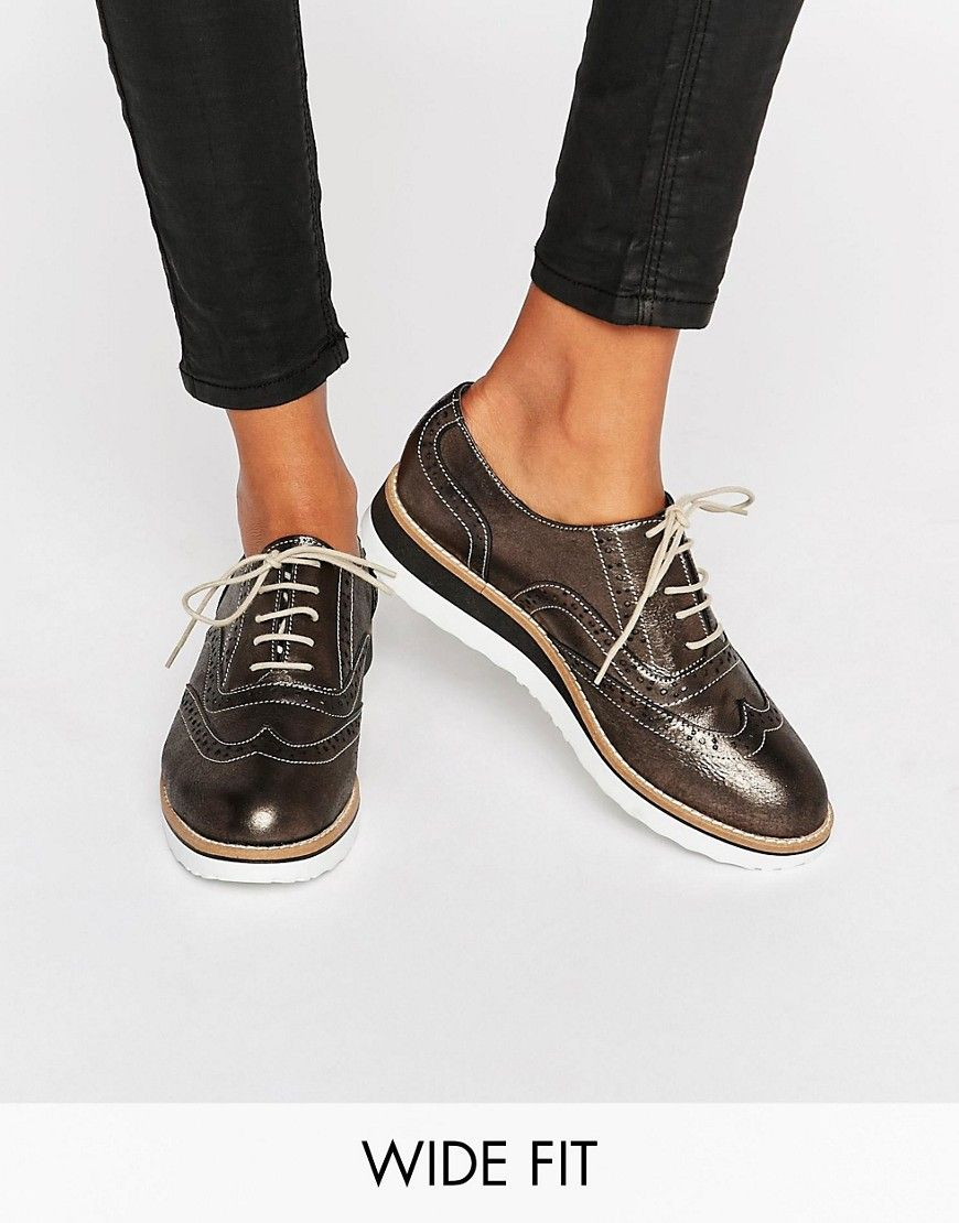688c21ae6b7 Image 1 of Dune Wide Fit Farlie Pewter Leather Chunky Brogues Women Oxford  Shoes