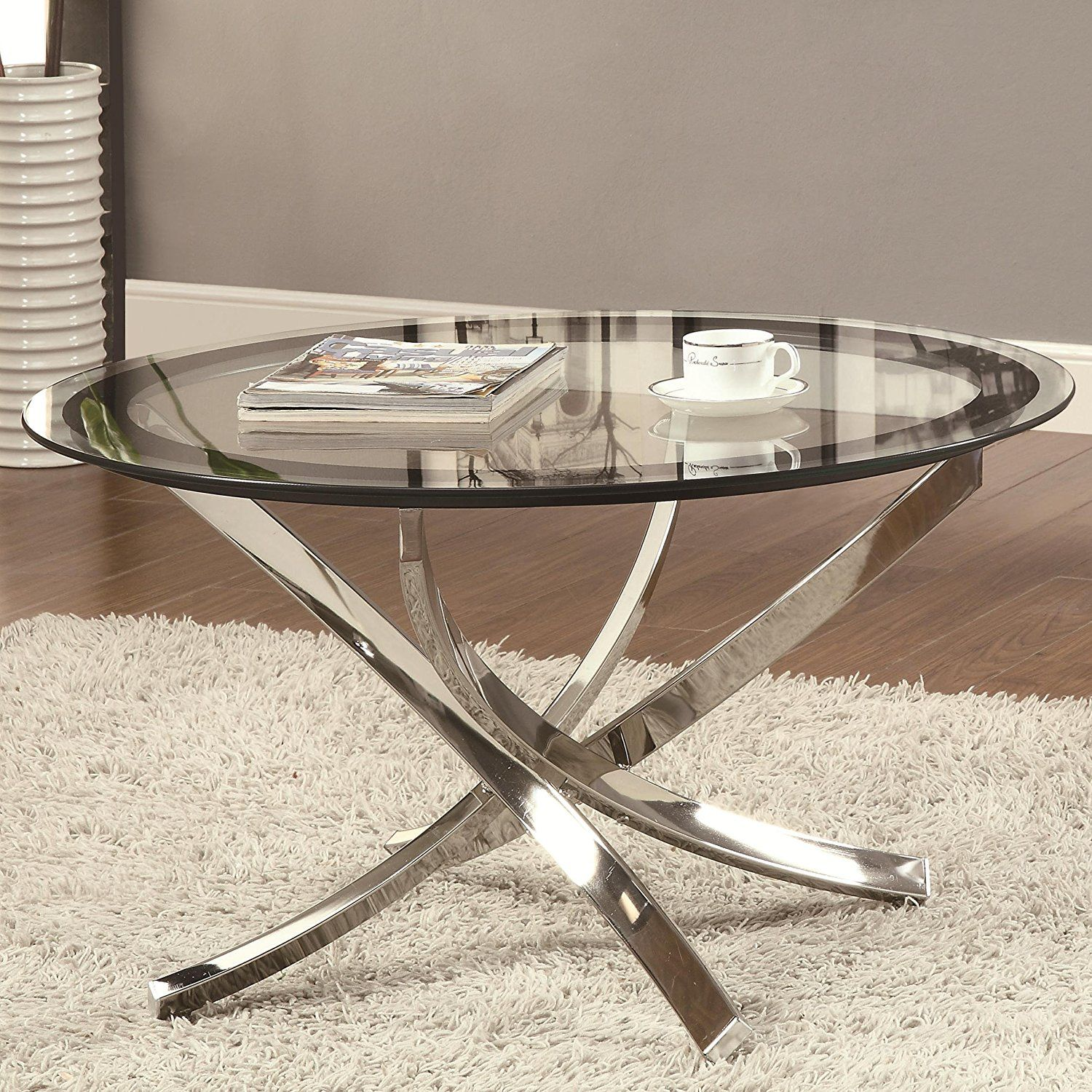 Coaster Home Furnishings 702588 Contemporary Coffee Table Chrome Kitchen