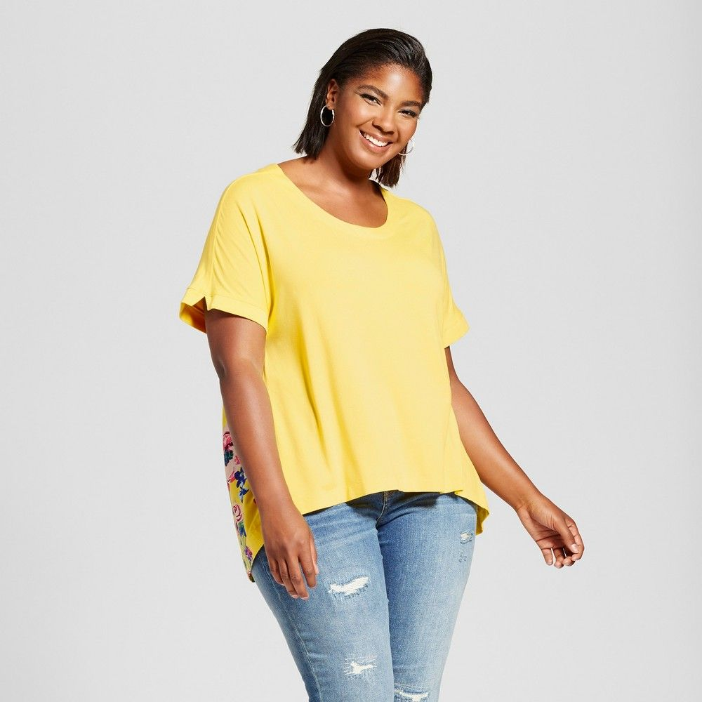 Womenus plus size mixed media tshirt with floral print ava u viv