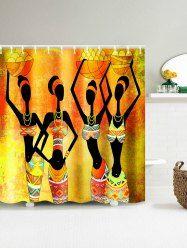 African Tribal Girl Harvest Celebration Shower Curtain Yellow