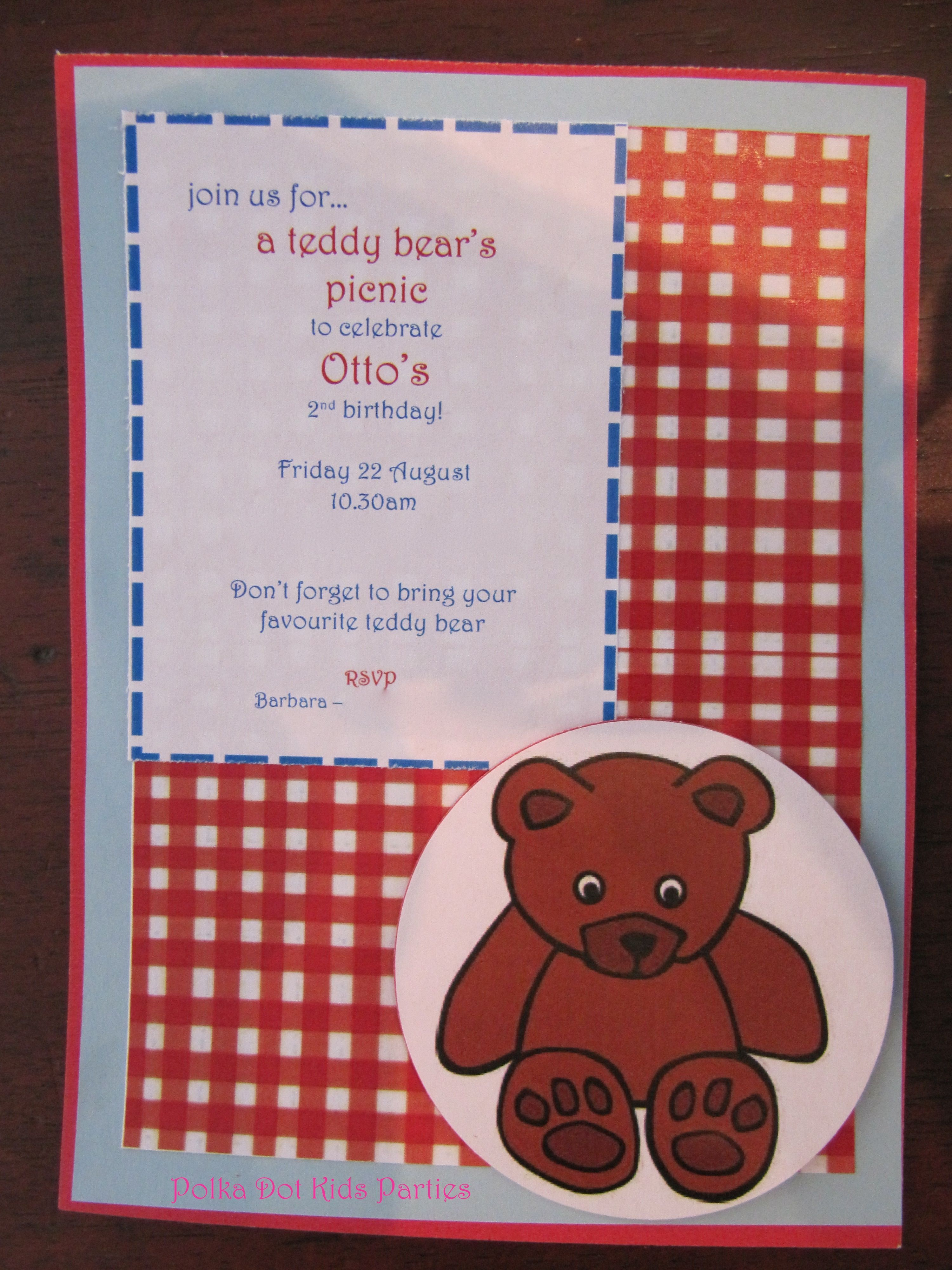 Handmade Invitation for a Teddy Bear\'s Picnic Birthday Party   Teddy ...