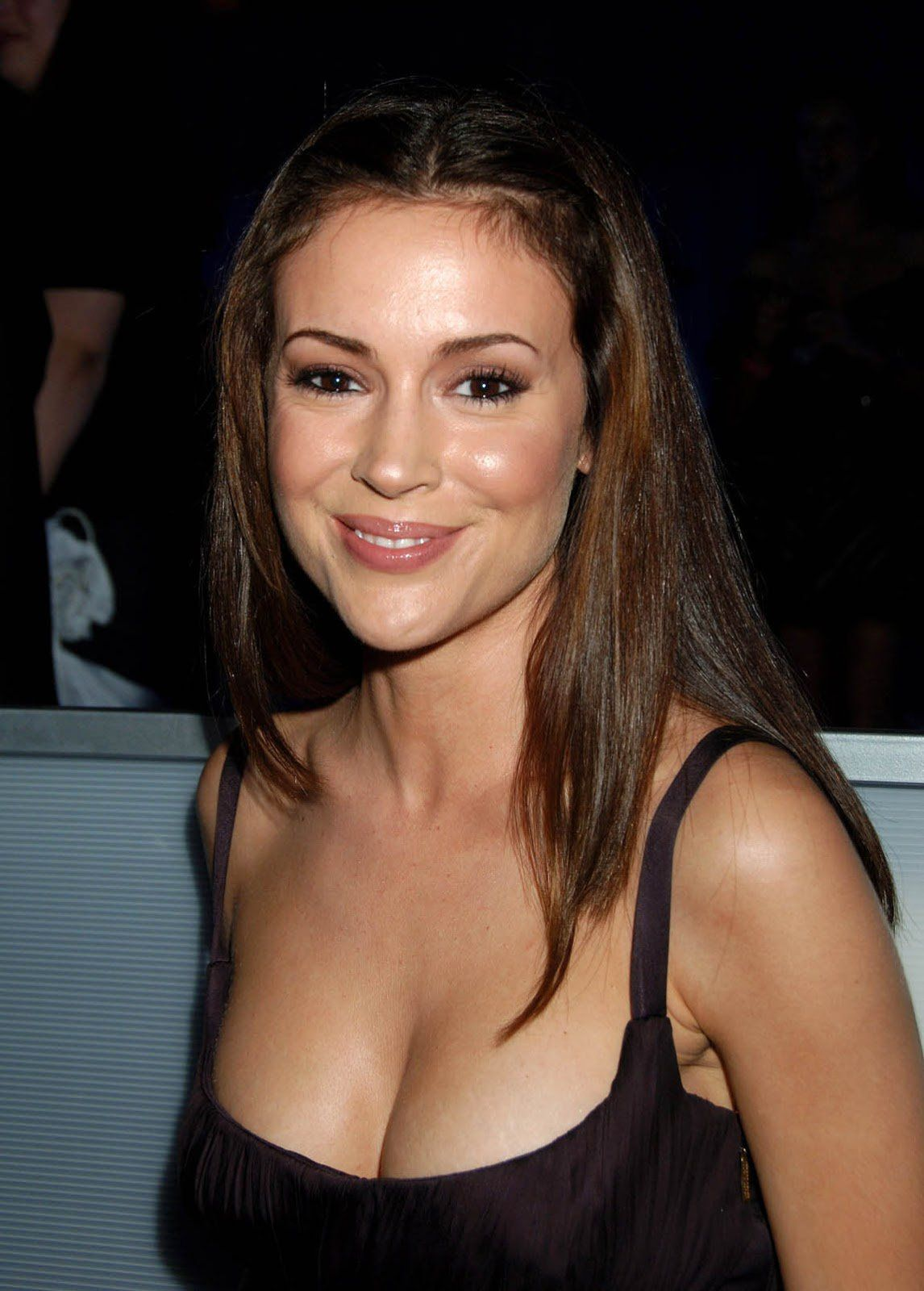 Alyssa Milano Tits pin on top cleavage