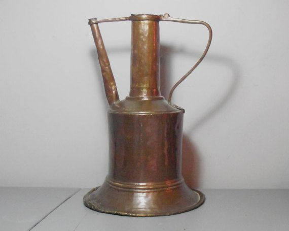13.5 Tall Antique Middle Eastern Copper Watering Can Rustic Country Decor Large Copper Water Pitcher Arabic Decor Old Brass /& Copper