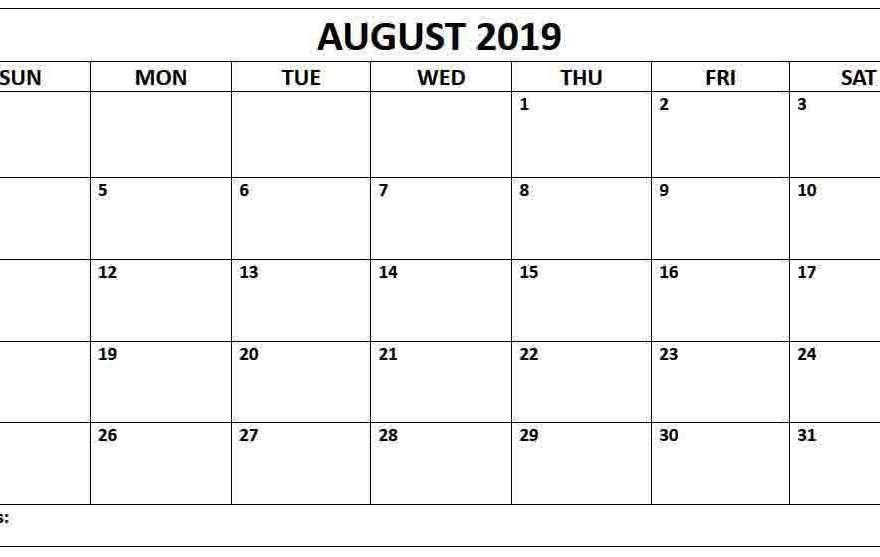 August 2019 Blank Calendar Landscape Layout Calendar Template
