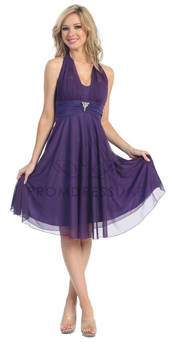Click to enlarge : Purple Matt Chiffon Halter Neck Empir ...