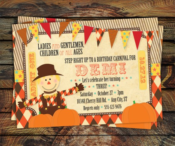 Fall Carnival Invitation Pumpkin Patch Festival Halloween Birthday