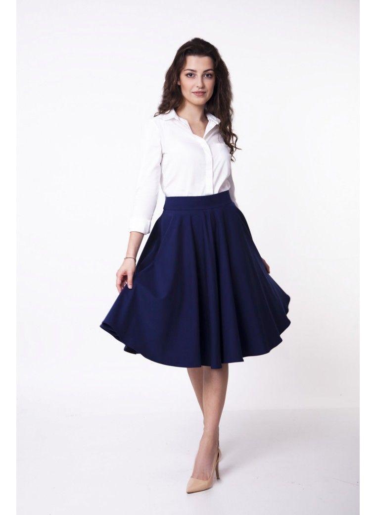 Niebieska Rozkloszowana Spodnica Fashion Clothes High Waisted Skirt