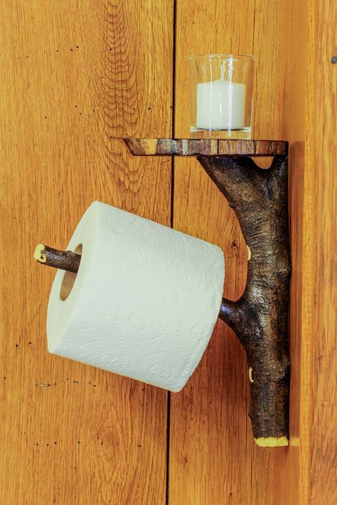 Rustic Wooden Toilet Paper Holder Shelf Tree By