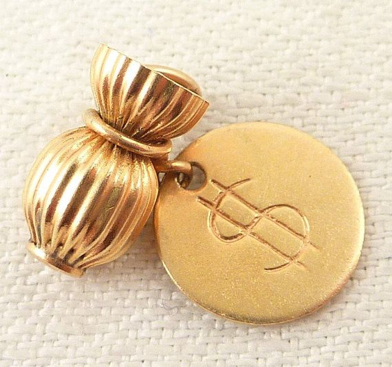 Vintage 14k Gold Money Bag Charm With Dollar Sign Tag Gold Money Money Bag Solid Gold Charms