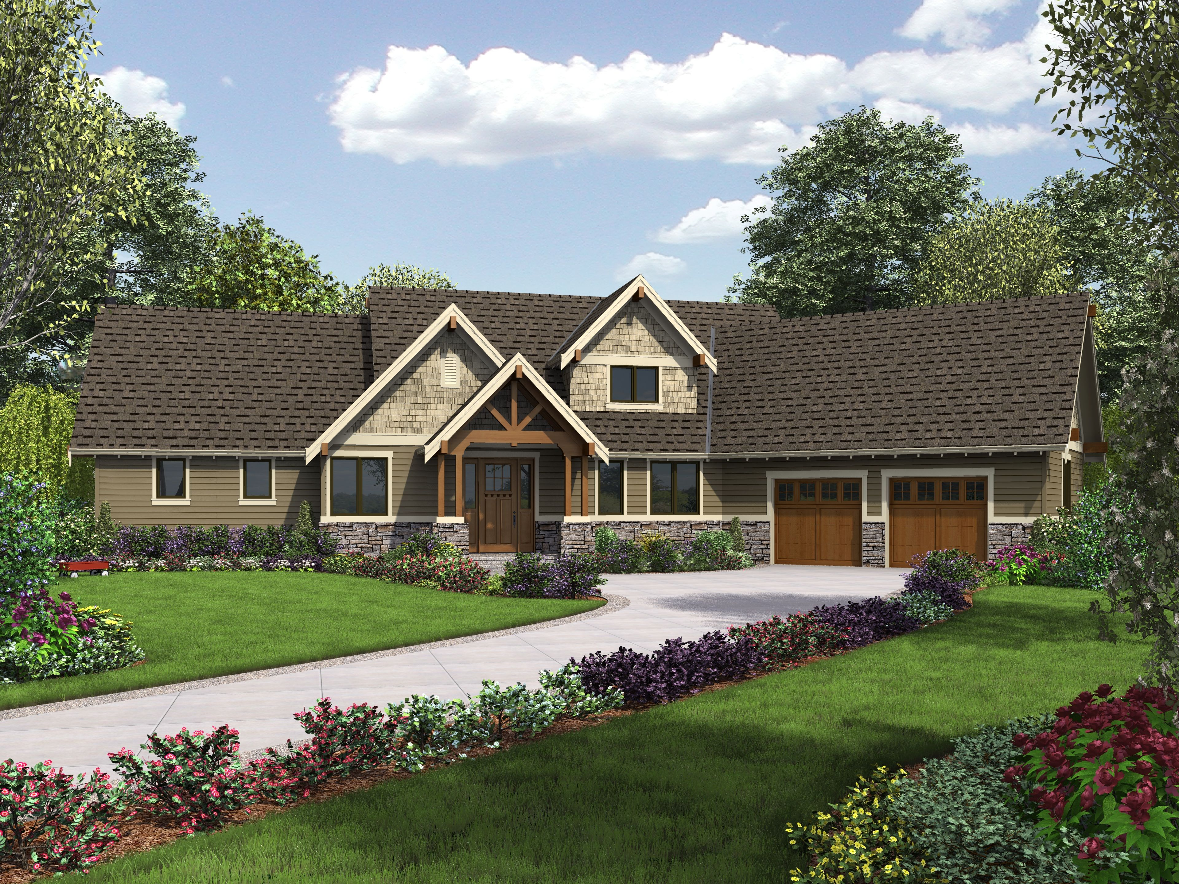 Craftsman Home Plans with Angled Garage