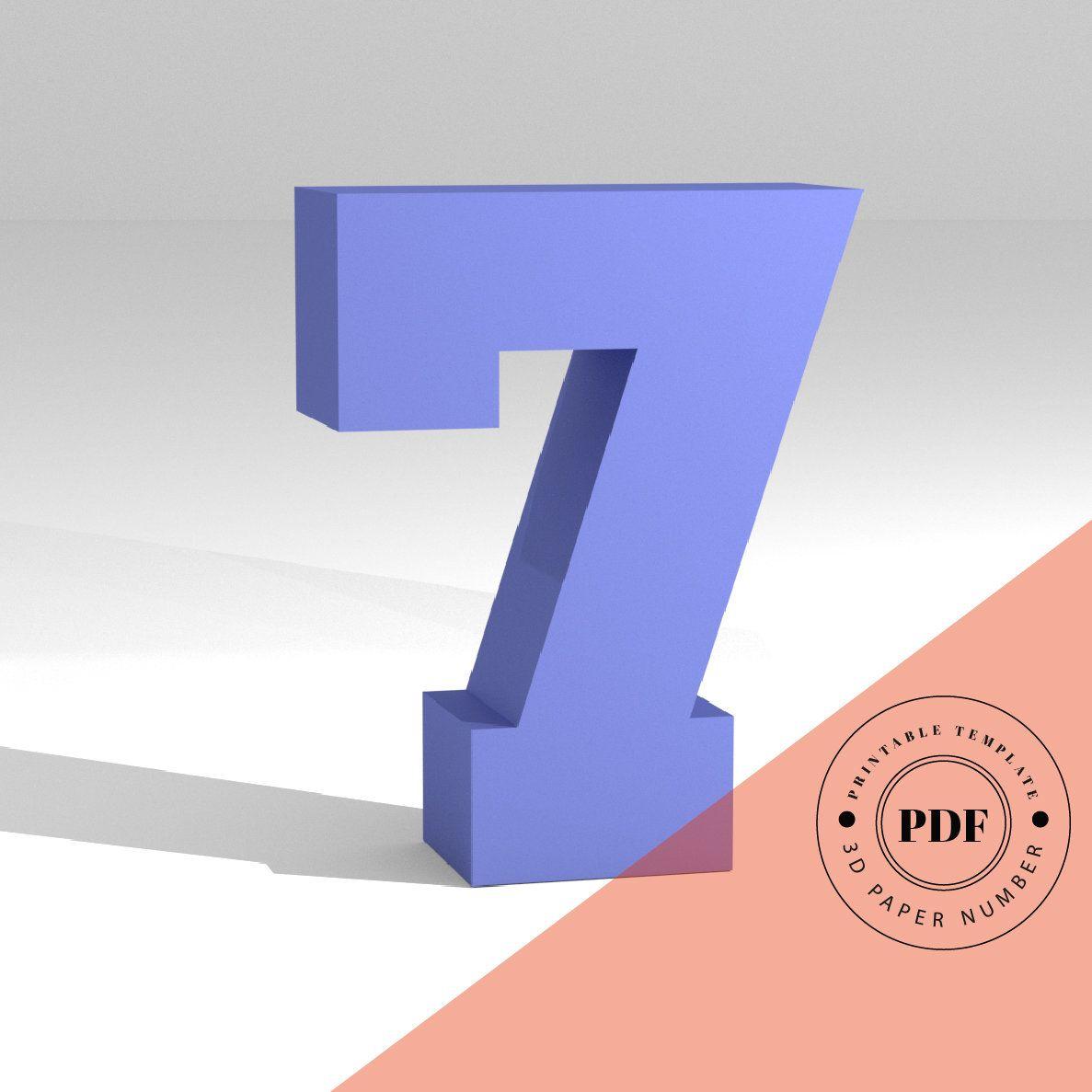 Printable Diy Template Pdf Number 7 Low Poly Paper Model