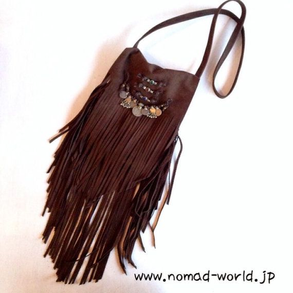 Bohemian,Hippie,Gypsy, Suede Leather fringe Bag - Coin, Nomad World