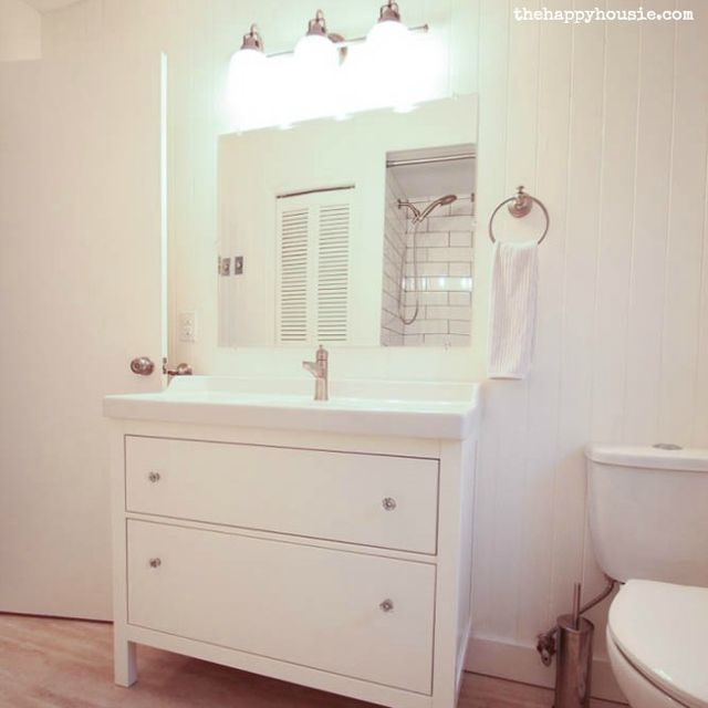 Thrifty Bathroom Makeover {with an Ikea Hemnes Vanity} (The Happy