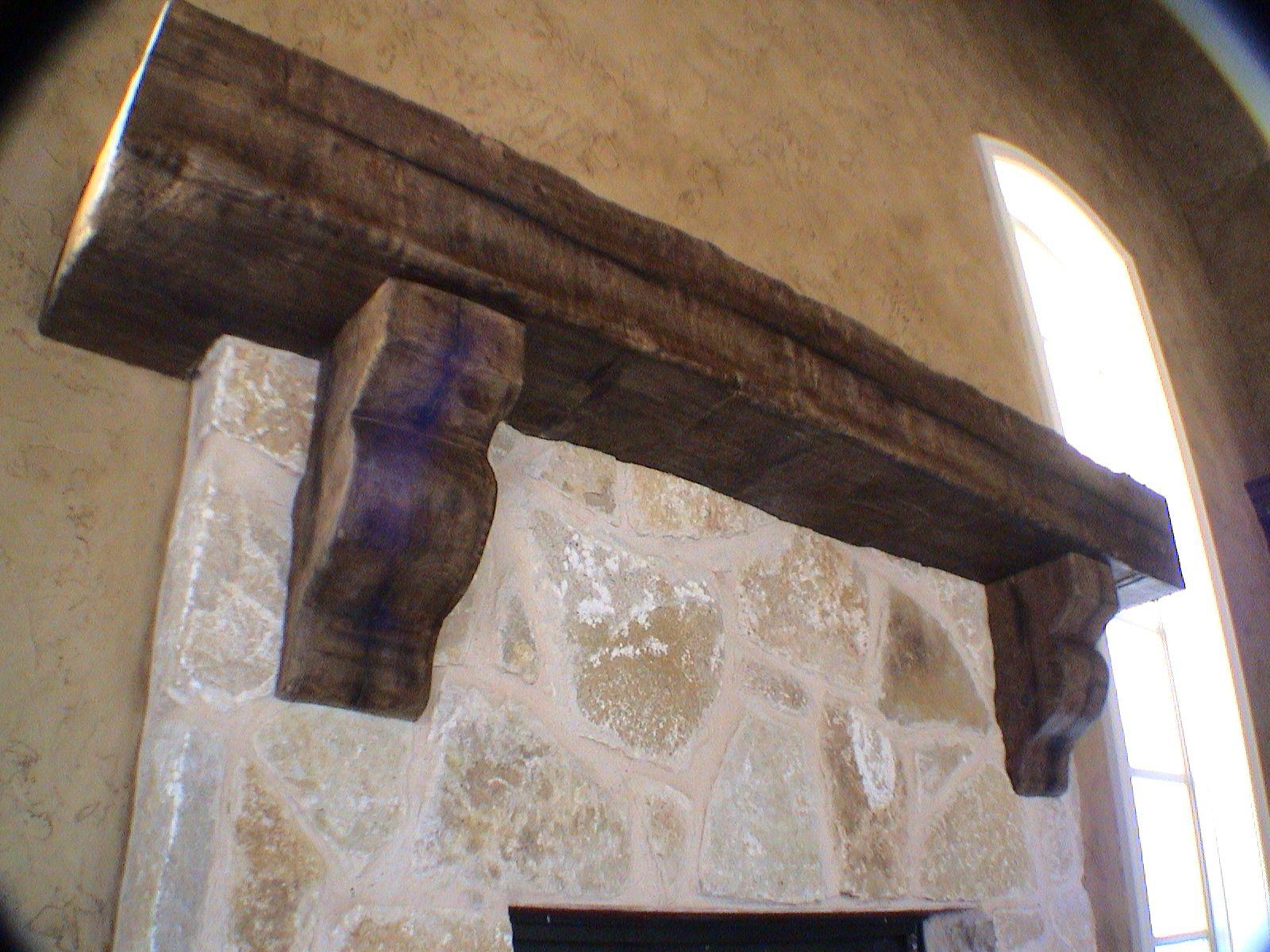Custom Rustic Mantel With Corbels