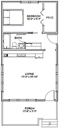 18x32 tiny house 576 sqft pdf floor plan model 1 for Single family homes with inlaw apartments