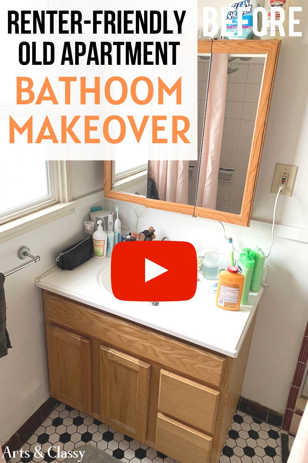 Renter Friendly Apartment Bathroom Makeover Tutorial In 2020 Rental Decorating Small Bathroom Decor Decorating Bathroom