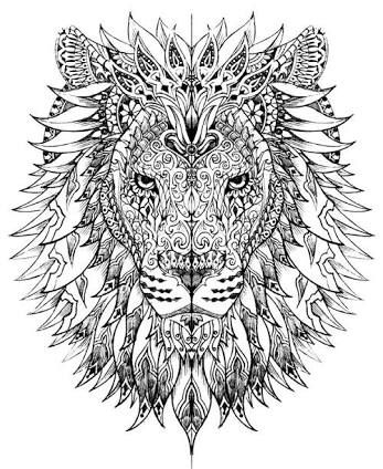 Tribal Tiger Head Colouring Page Ausmalbilder Tiere Ausmalbilder Ausmalen
