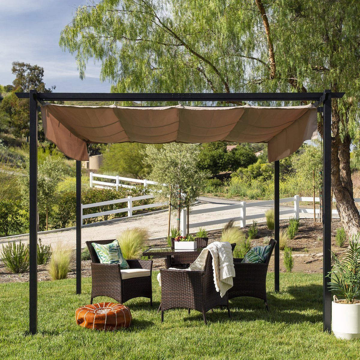 10x10 Ft Outdoor Pergola With Retractable Weatherproof Awning Steel Frame 10x10 Ft Outdoor In 2020 Backyard Shade Patio Weather Pergola Shade