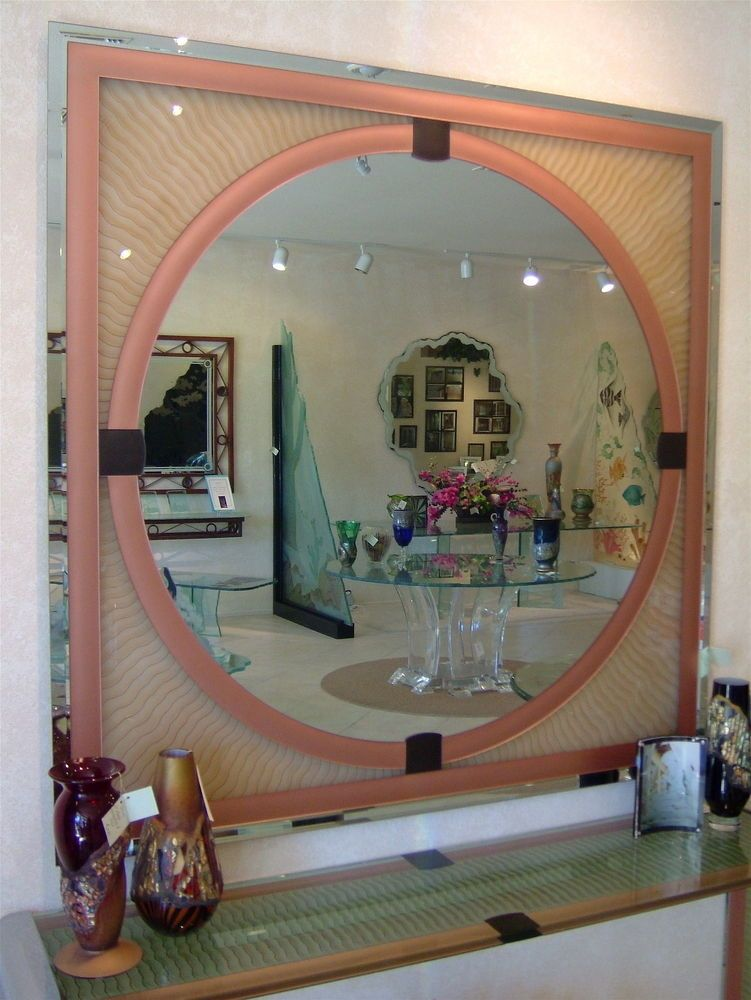 Art Deco Mirror Hand Etched Carved And Painted Symmetrical Waves