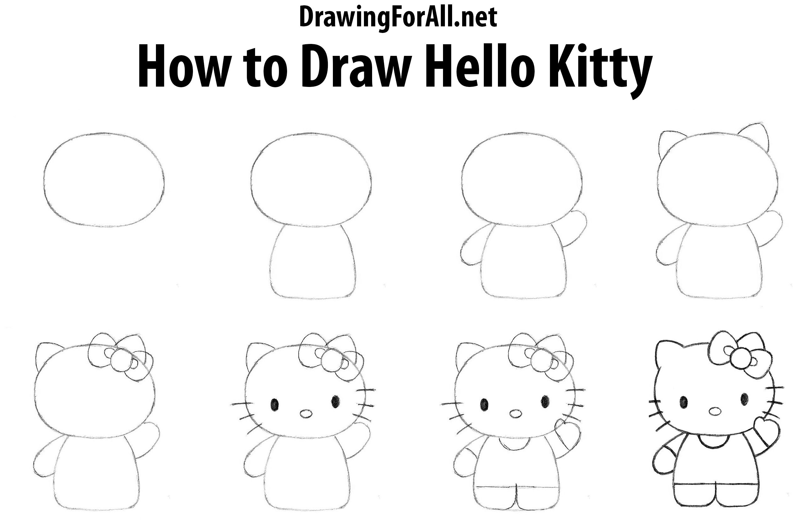 How To Draw Hello Kitty Hello Kitty Drawing Hello Kitty Crafts