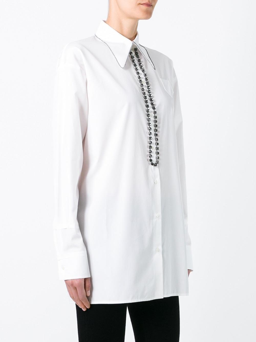 Nº21 рубашка с декорированным воротником