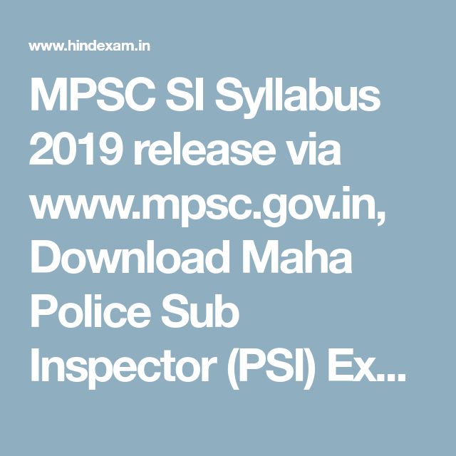 MPSC SI Syllabus 2019 release via www mpsc gov in, Download