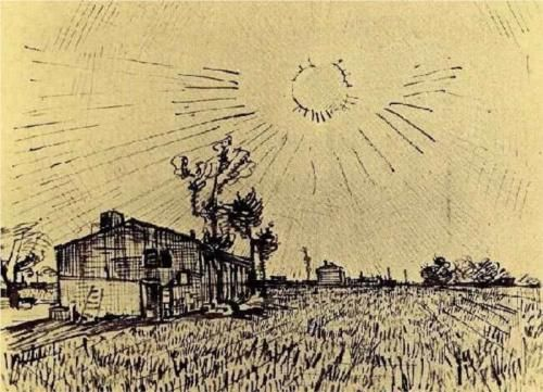 Field with Houses under a Sky with Sun Disk - Vincent van Gogh