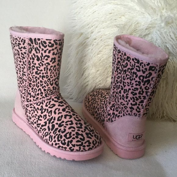 ugg brand new suede pink leopard print boots | my posh picks ...