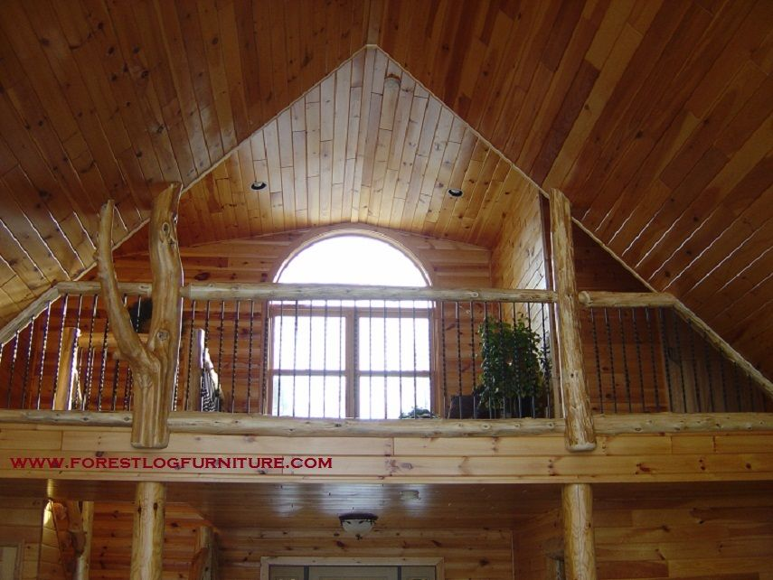 Best Cedar Log Railing With Wrought Iron Spindles Rustic 400 x 300