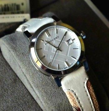 Burberry BRAND NEW Burberry Haymarket Check & Leather Strap BU9132 Ladies Watch $300