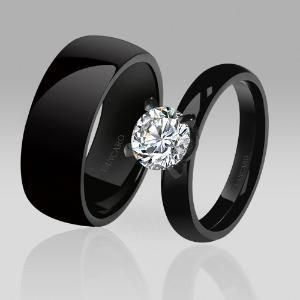 High Quality Designed His Hers Rings Solitaire Style White Cubic Zirconia Couple Rings For Women Black Wedding Rings Black Engagement Ring Cool Wedding Rings