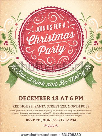 Christmas party invitation with ornaments, label and ribbon - format for invitation
