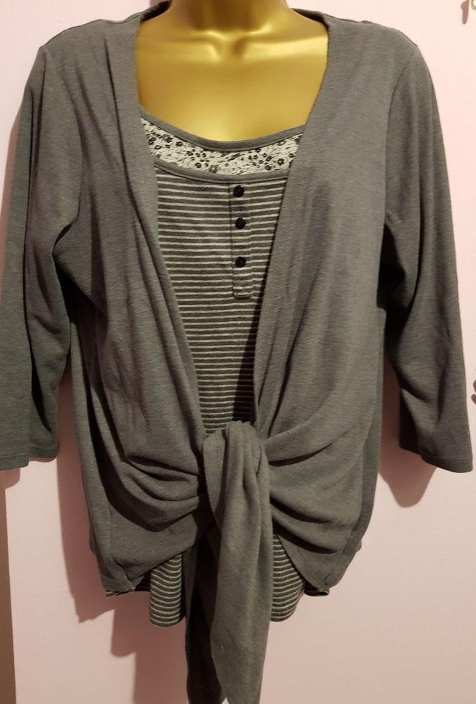 M & S 2 in 1 Soft Grey Waterfall Cardigan Striped Top | Ebay shopping