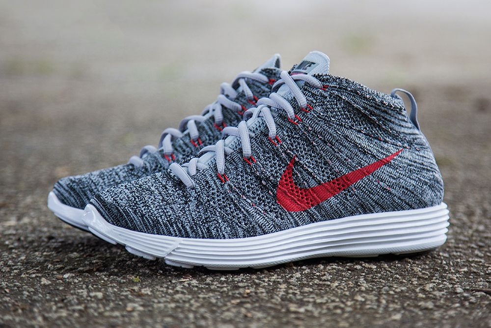 newest 7822c 8dca3 Nike Lunar Flyknit Chukka Wolf Grey Red