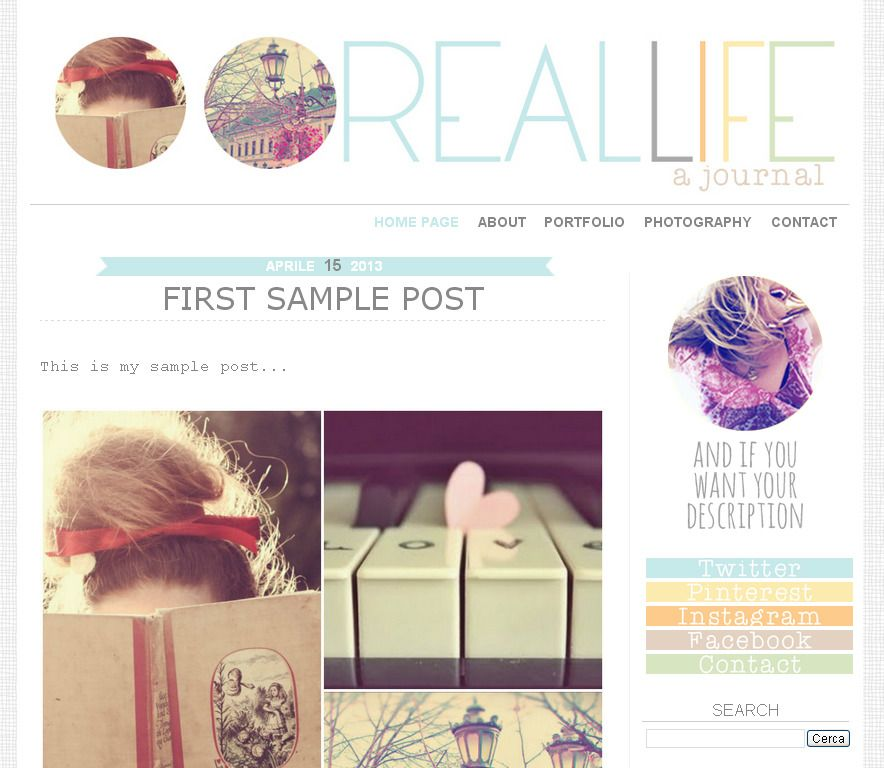 Premade Blogger Template Real Life two columns, journal, life
