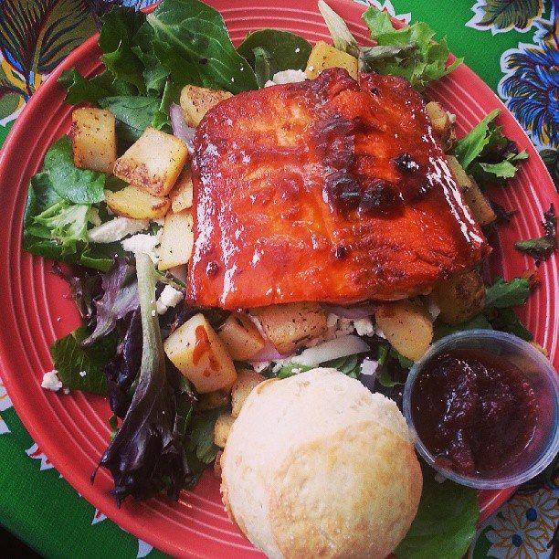 Coca-Cola BBQ Glazed Salmon Salad…..Yessss