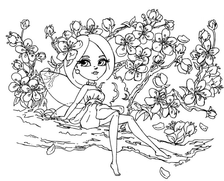 a beautiful fairy and cherry blossom coloring page | adult ... - Cherry Blossom Tree Coloring Pages