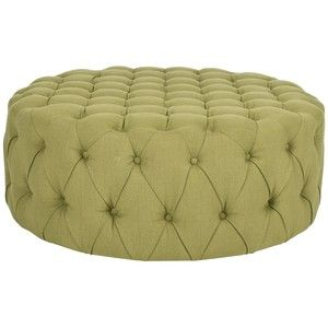 modern tufted ottoman | Modern Classic Hollywood 30'S Style Tufted TOP Round Green Ottoman NEW ...