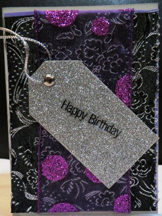 Greeting Card Happy Birthday Black Purple By Foundcardsbylinnea