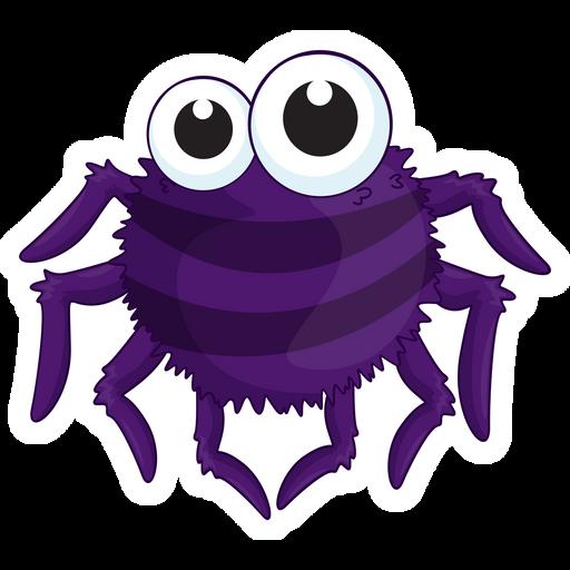 Cute Purple Spider Sticker Trippy Cartoon Halloween Clips Cute Stickers
