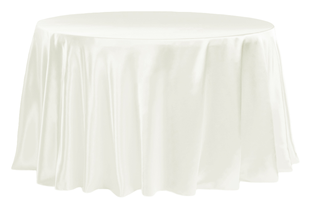 """Satin 132"""" Round Tablecloth Ivory 120 round tablecloth"""