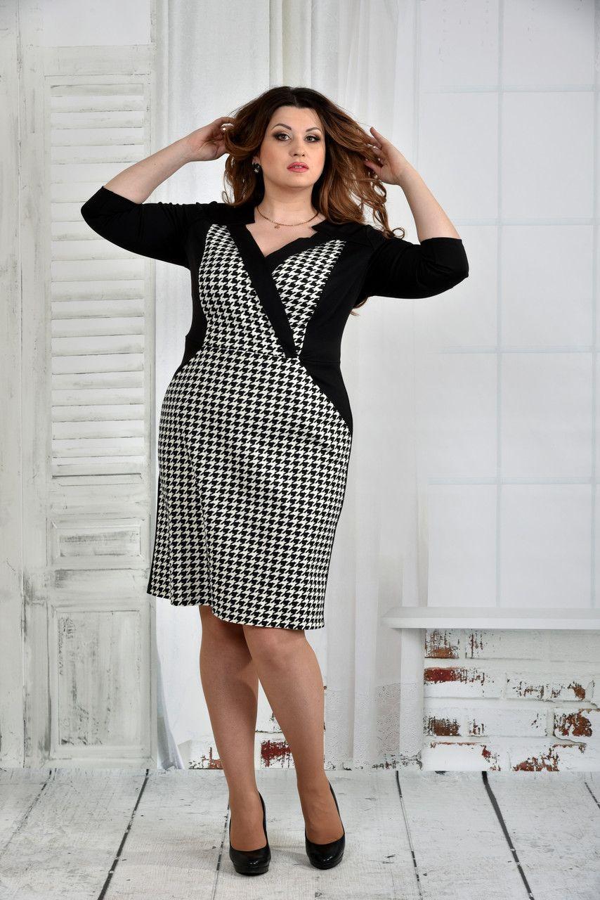 Женское платье больших размеров черное гусиная лапка ШОТА ...