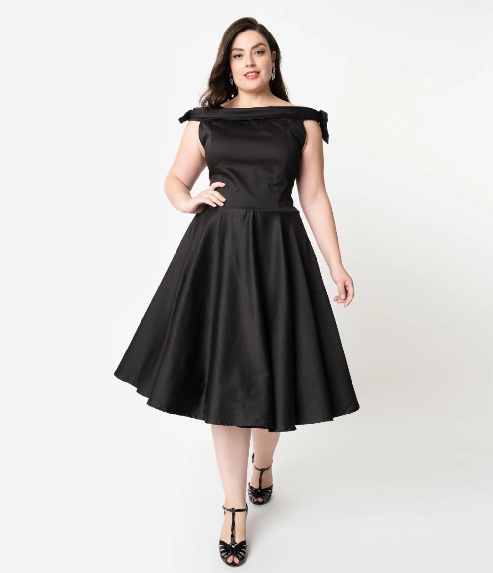 1950s Style Black Off Shoulder Mona Swing Dress Unique Vintage Plus Size Vintage Dresses Plus Size Maternity Dresses Plus Size Black Dresses [ 1164 x 1000 Pixel ]